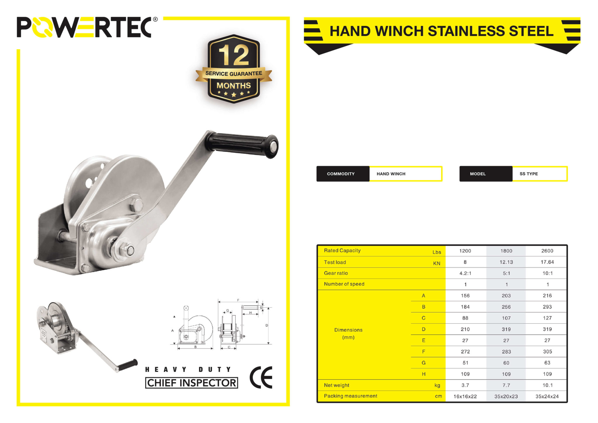 POWERTEC HAND WINCH STAINLESS STEEL BROCHURE