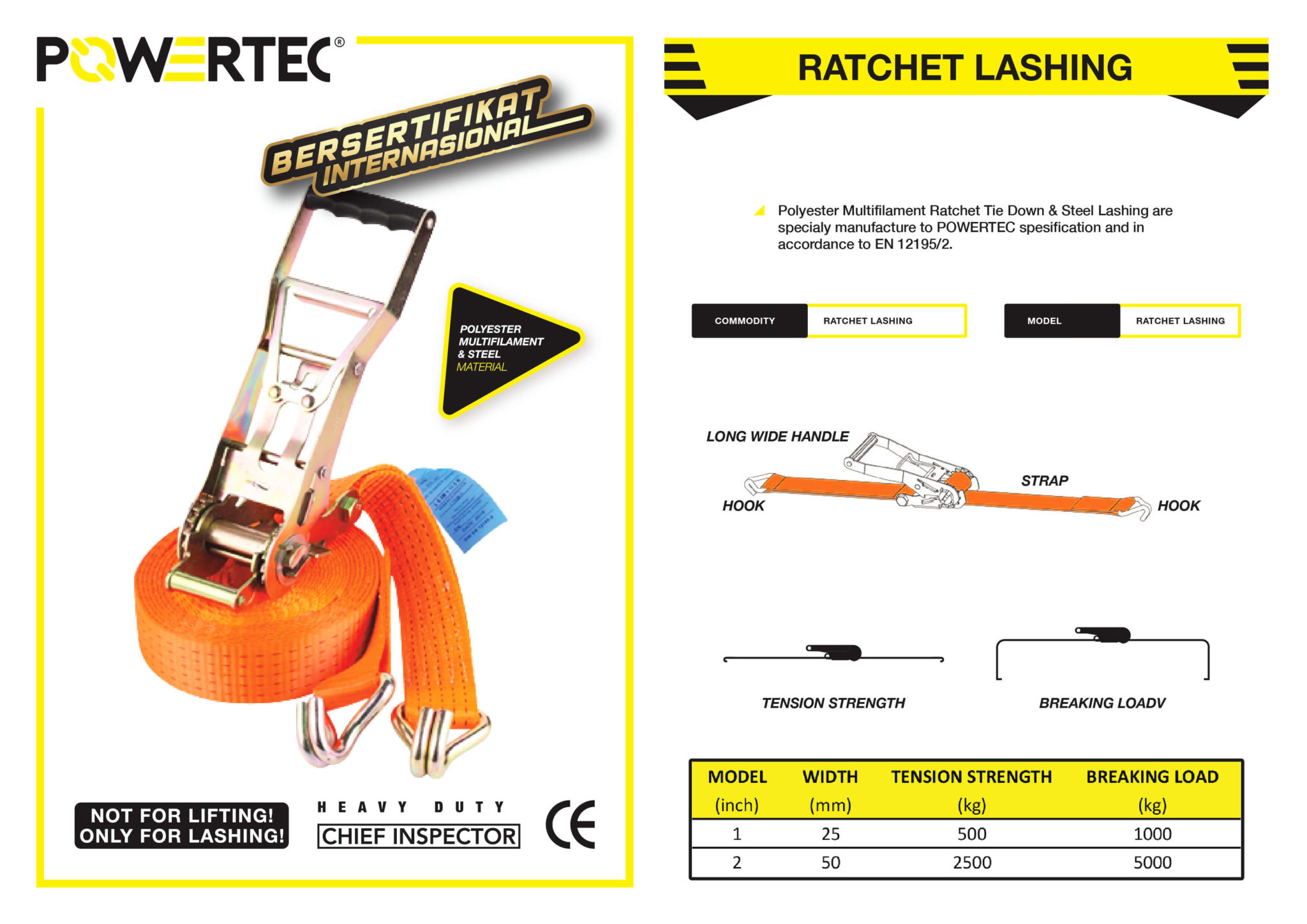 POWERTEC RATCHET LASHING BELT BROCHURE