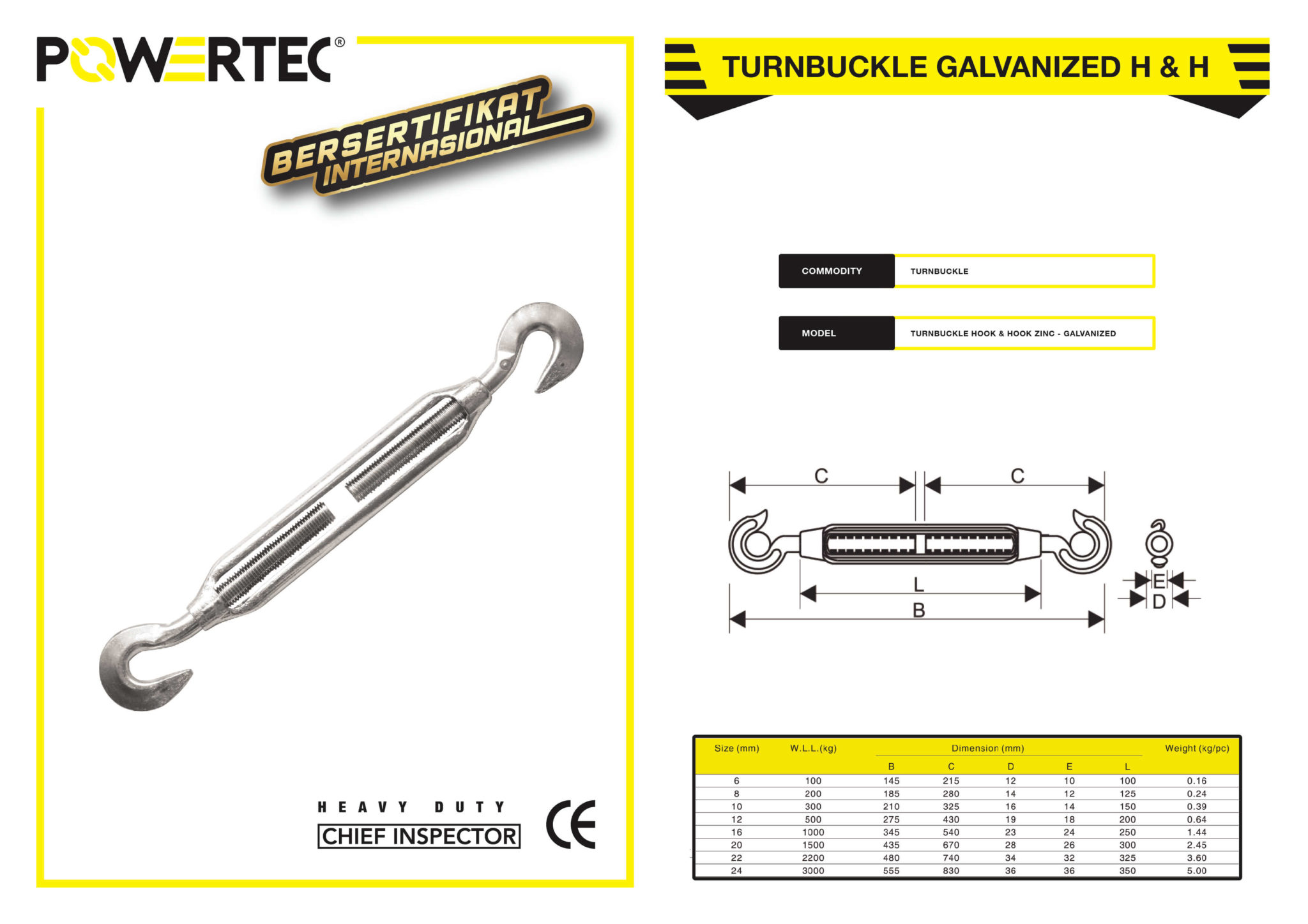 POWERTEC TURNBUCKLE GALVANIZED HOOK & HOOK BROCHURE