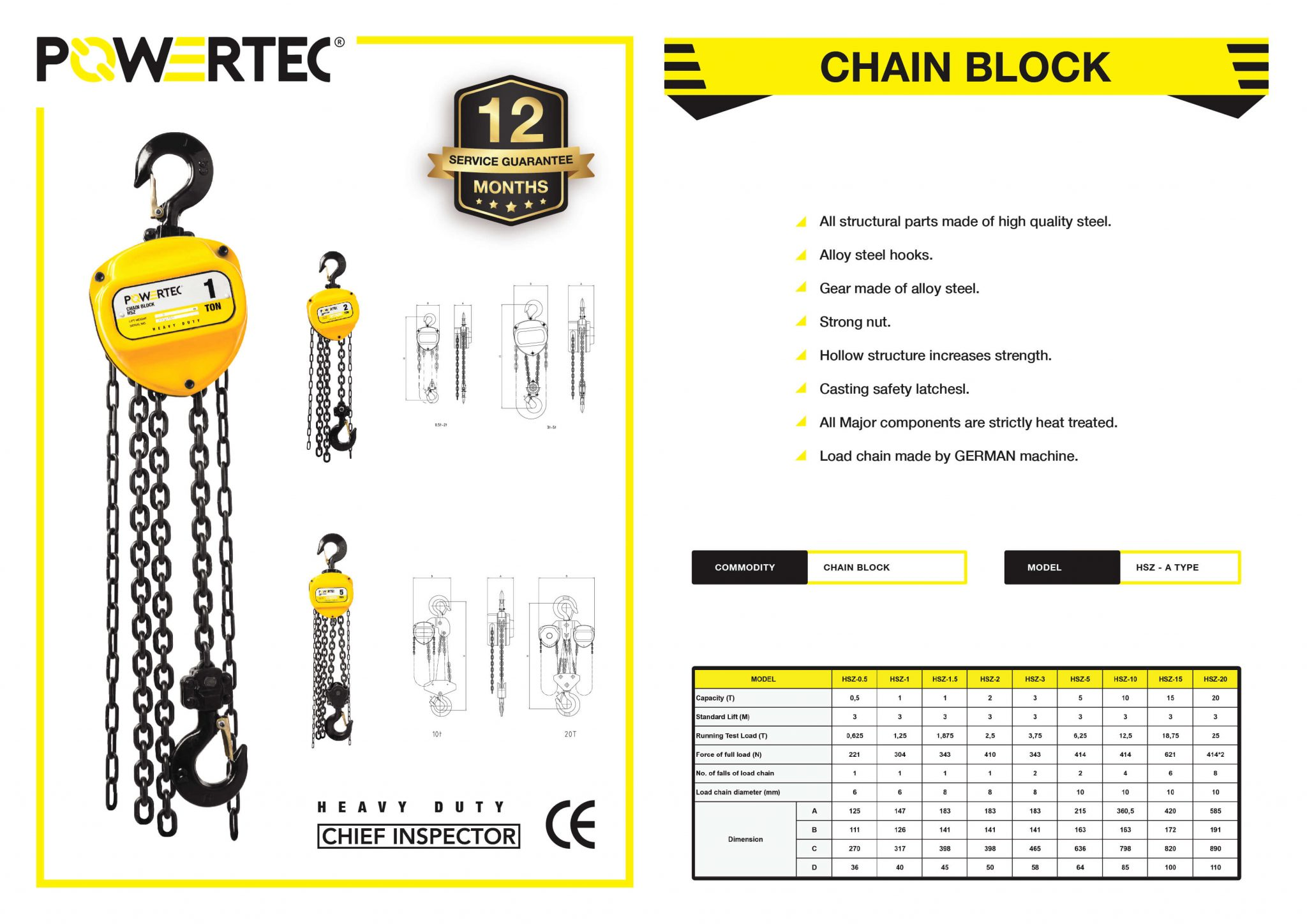 POWERTEC CHAIN BLOCK BROCHURE SPECIFICATION