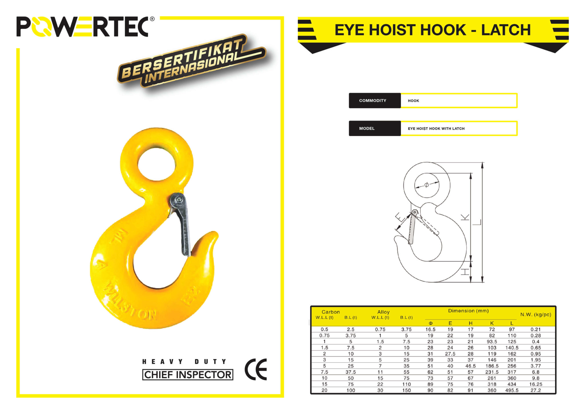 POWERTEC EYE HOIST HOOK WITH LATCH BROCHURE