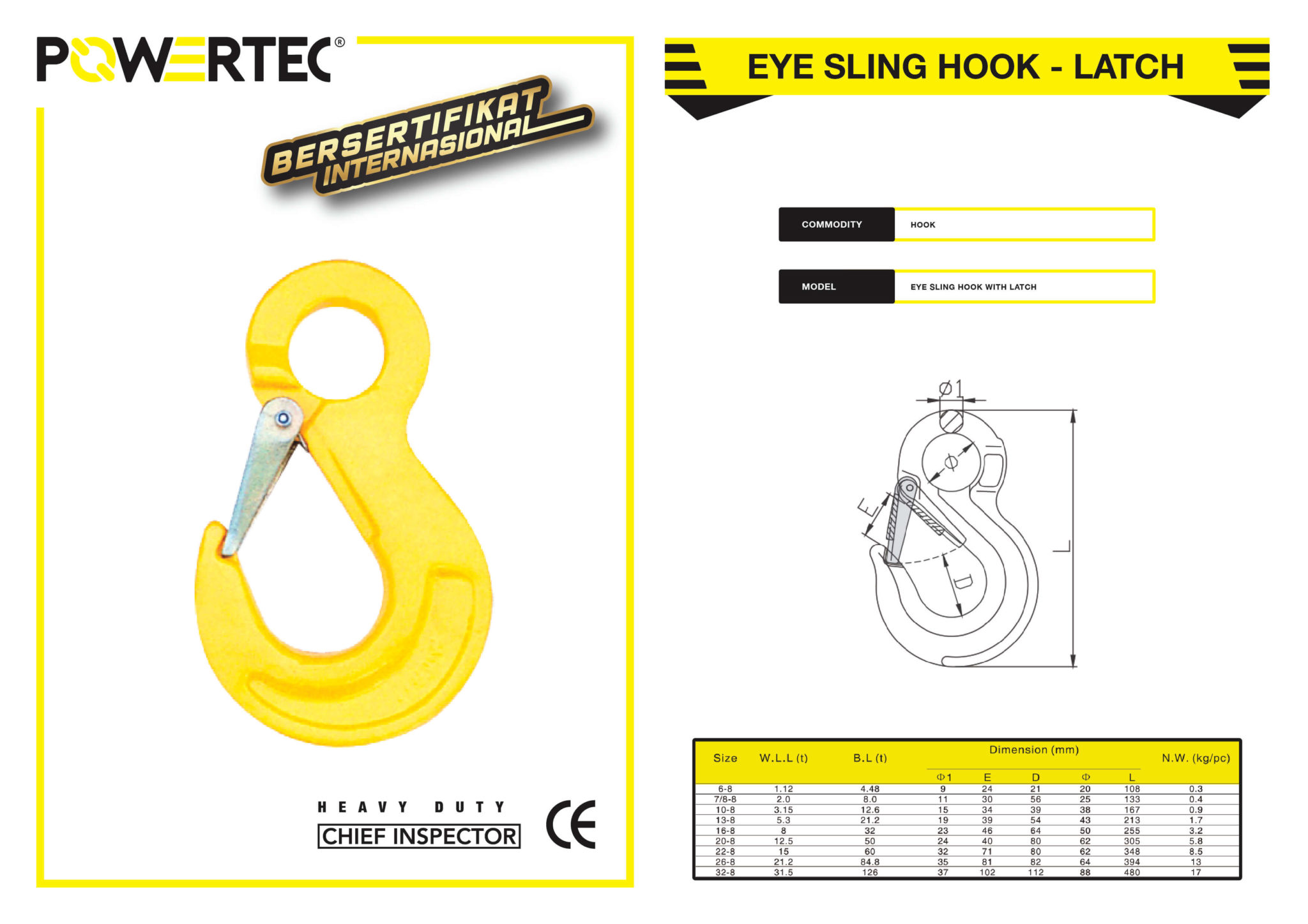 POWERTEC EYE SLING HOOK WITH LATCH BROCHURE