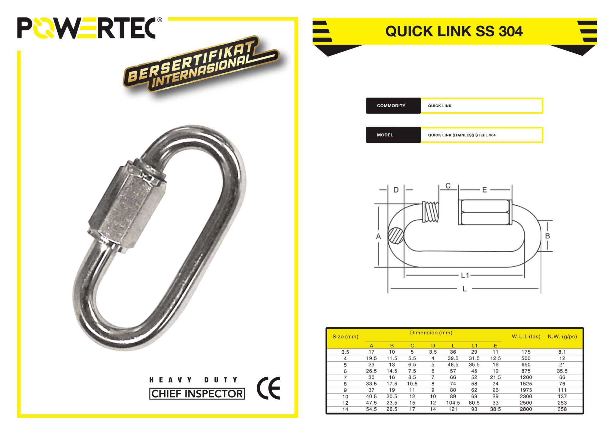 POWERTEC QUICK LINK SS 304 BROCHURE