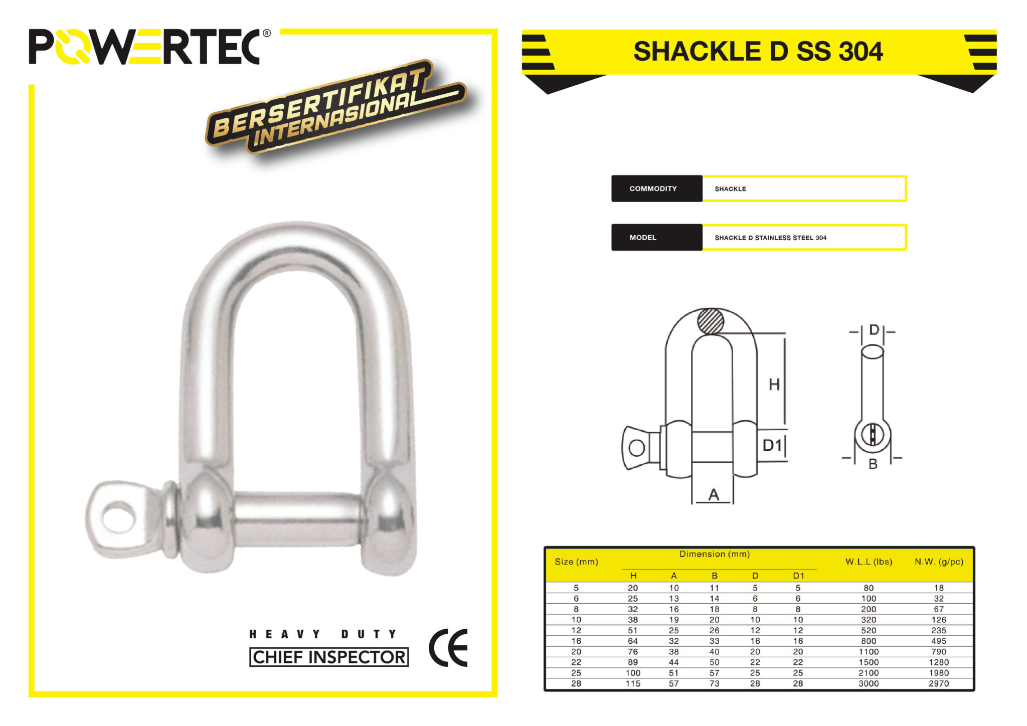 POWERTEC SHACKLE D STAINLESS STEEL 304 BROCHURE