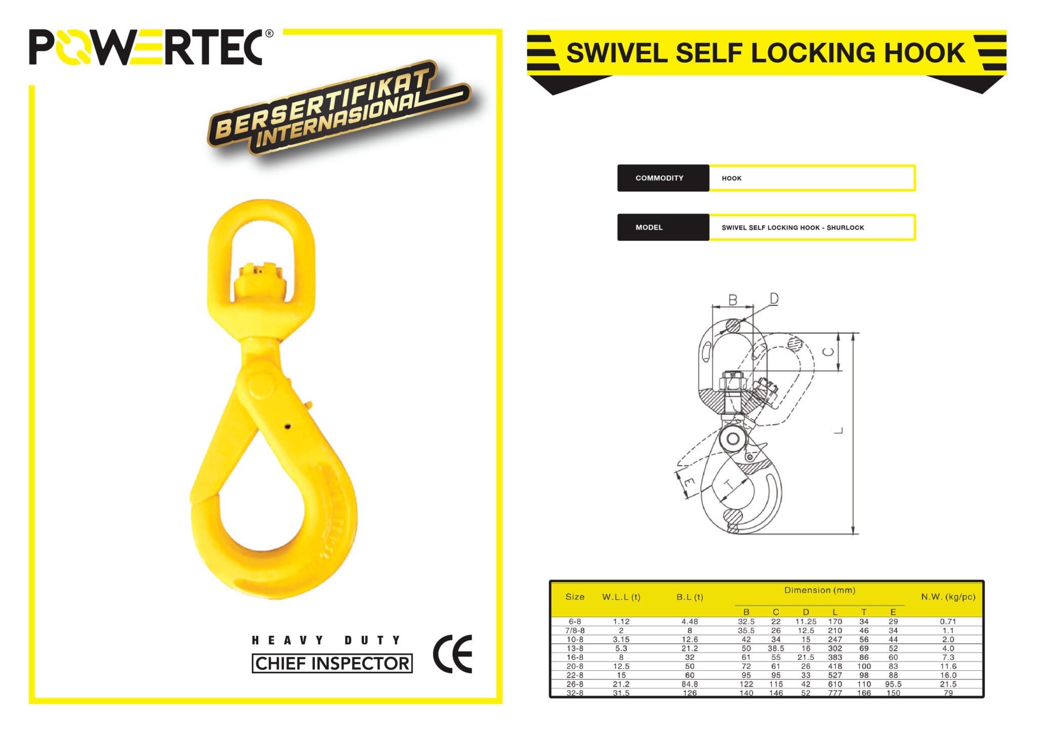 POWERTEC SWIVEL SELF LOCKING HOOK BROCHURE