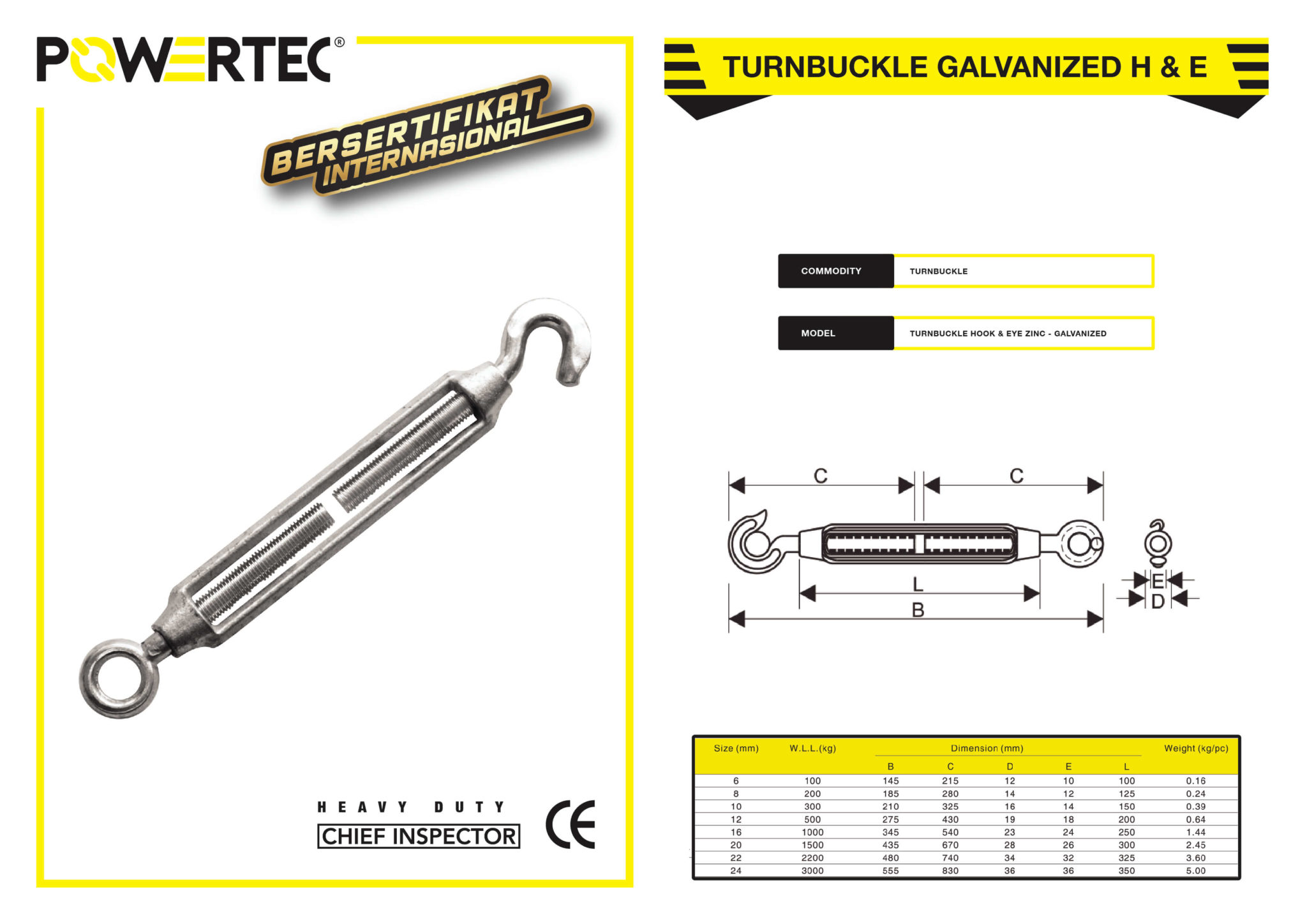 POWERTEC TURNBUCKLE GALVANIZED HOOK & EYE BROCHURE