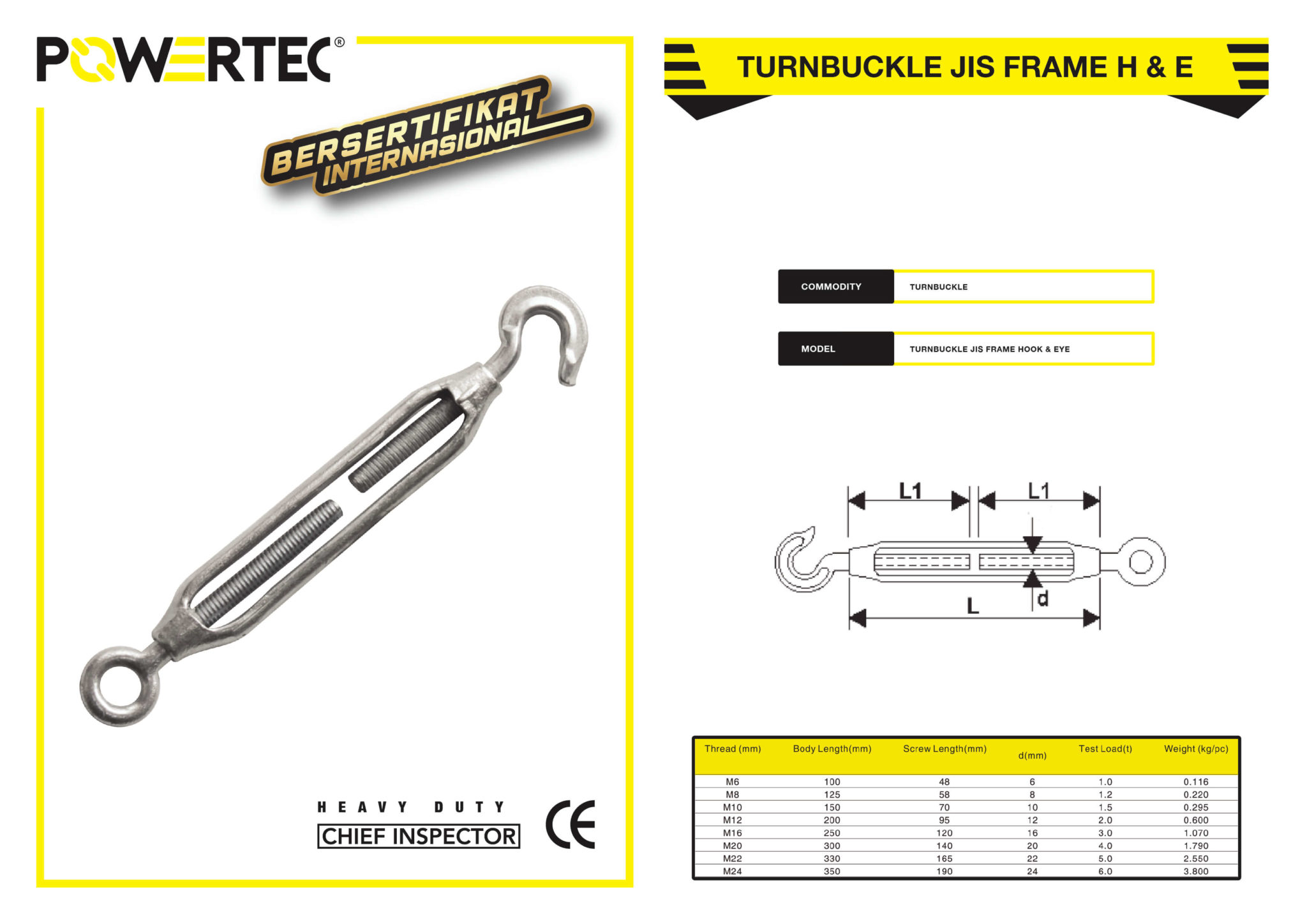 POWERTEC TURNBUCKLE JIS FRAME HOOK & EYE BROCHURE