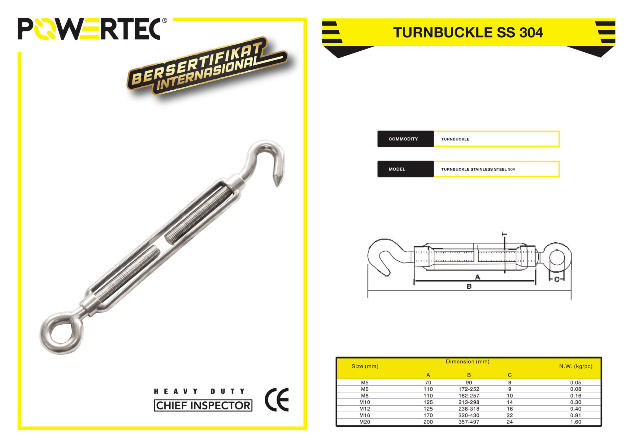 POWERTEC TURNBUCKLE SS 304 BROCHURE