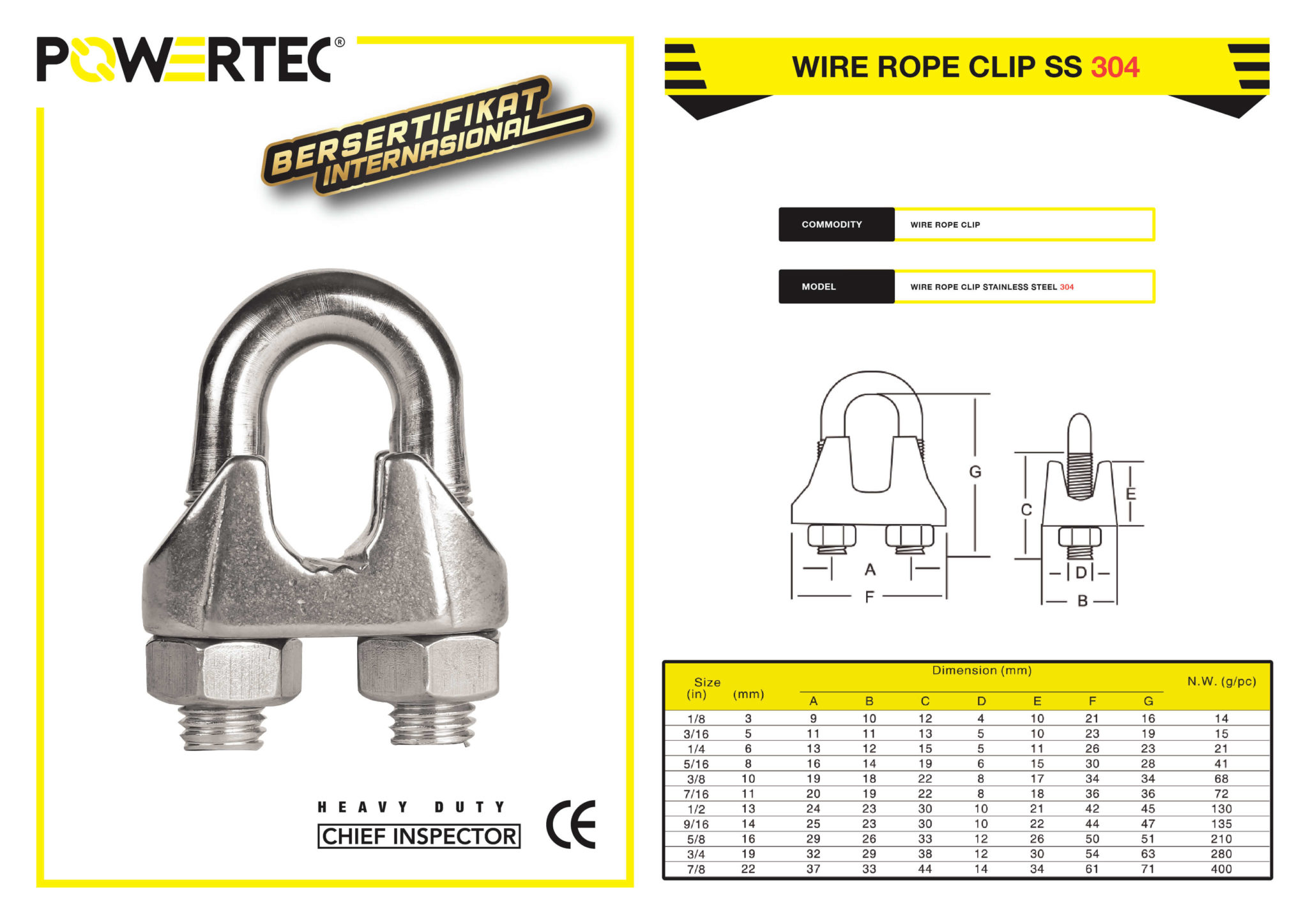 POWERTEC WIRE ROPE CLIP SS 304 BROCHURE