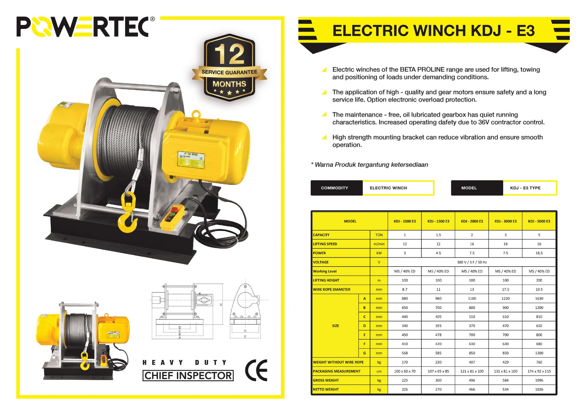 POWERTEC ELECTRIC WINCH KDJ-E3 HD BROCHURE