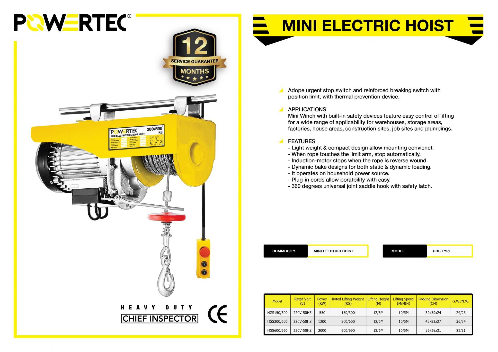POWERTEC MINI ELECTRIC HOIST BROCHURE